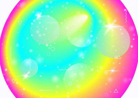 Rainbow background with vibrant gradients. Holographic dynamic fluid. Cosmos hologram. Graphic template for flyer, mobile screen and wallpaper. Multicolor rainbow background. Vecteurs