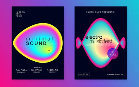 Music flyer set. Fluid holographic gradient shape and line. Cool techno party brochure template. Electronic sound. Night dance lifestyle holiday. Poster for summer fest and music flyer.
