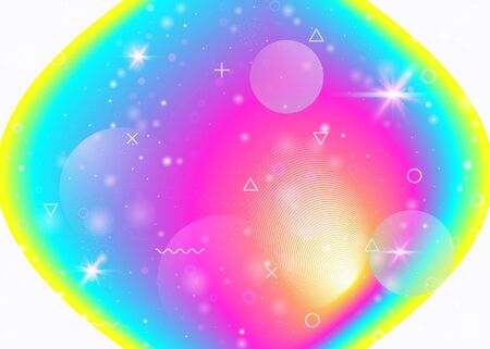 Holographic background with vibrant rainbow gradients. Dynamic fluid. Cosmos hologram. Design layout for poster, annual report and mobile screen. Spectrum holographic background.