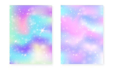 Unicorn background with kawaii magic gradient. Princess rainbow hologram. Holographic fairy set. Bright fantasy cover. Unicorn background with sparkles and stars for cute girl party invitation.