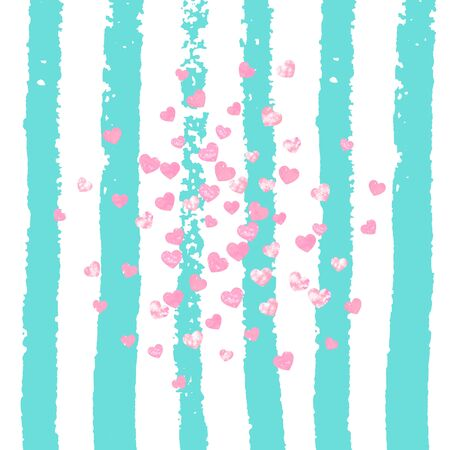 Pink glitter hearts confetti  on turquoise stripes. Random falling sequins with glossy sparkles. Template with pink glitter hearts for party invitation, bridal shower and save the date invite.