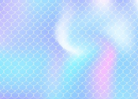 Mermaid scales background with holographic gradient. Bright color transitions. Fish tail banner and invitation. Underwater and sea pattern for girlie party. Fluorescent backdrop with mermaid scales.