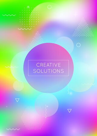 Liquid shapes background with dynamic fluid. Holographic bauhaus gradient with memphis elements. Graphic template for brochure, banner, wallpaper, mobile screen. Multicolor liquid shapes background.
