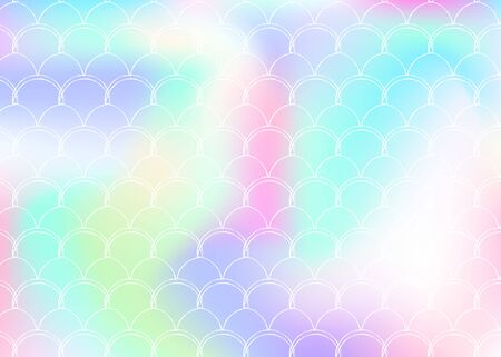 Gradient mermaid background with holographic scales. Bright color transitions. Fish tail banner and invitation. Underwater and sea pattern for girlie party. Rainbow backdrop with gradient mermaid. Illustration