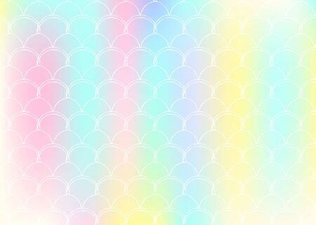 Gradient mermaid background with holographic scales. Bright color transitions. Fish tail banner and invitation. Underwater and sea pattern for girlie party. Creative backdrop with gradient mermaid. Illustration