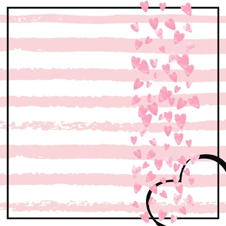 Pink glitter hearts confetti  on white stripes. Falling sequins with shimmer and sparkles. Template with pink glitter hearts for party invitation, banner, greeting card, bridal shower.