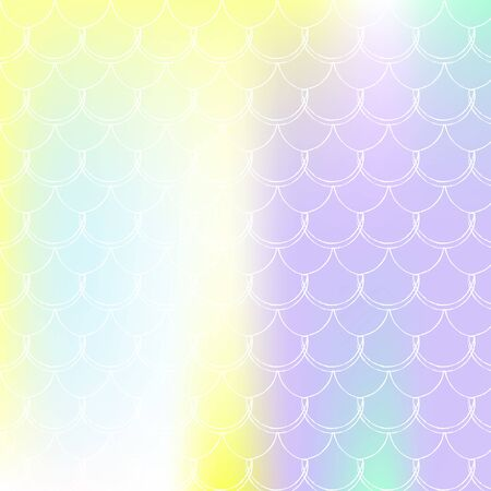 Gradient scale background with holographic mermaid. Bright color transitions. Fish tail banner and invitation. Underwater and sea pattern for girlie party. Pearlescent backdrop with gradient scale. Vettoriali