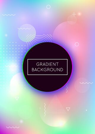 Holographic background with liquid shapes. Dynamic bauhaus gradient with memphis fluid elements. Graphic template for book, annual, mobile interface, web app. Vibrant holographic background. 向量圖像