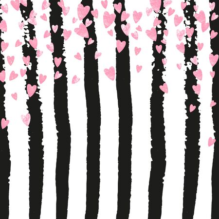 Wedding glitter confetti with hearts on black stripes. Shiny random sequins with metallic sparkles. Design with pink wedding glitter for party invitation, event banner, flyer, birthday card.