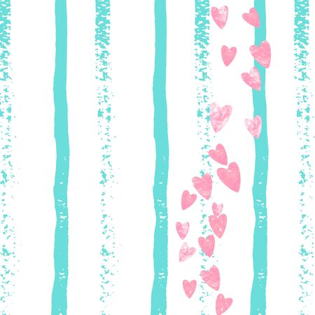 Wedding glitter confetti with heart on turquoise stripe. Sequins with metallic shimmer and sparkles. Design with pink wedding glitter for party invitation, banner, greeting card, bridal shower. Ilustracja