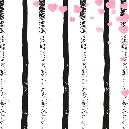 Pink glitter hearts confetti  on black stripes. Sequins with metallic shimmer and sparkles. Template with pink glitter hearts for party invitation, bridal shower and save the date invite. Ilustracja