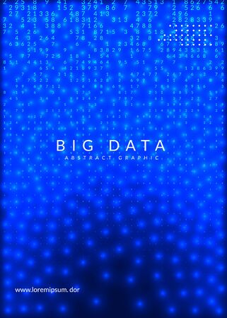Deep learning concept. Digital technology abstract background. Artificial intelligence and big data. Tech visual for information template. Partical deep learning backdrop. Ilustracja