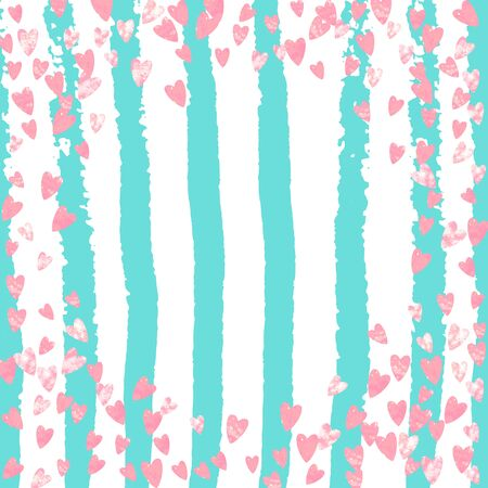 Wedding glitter confetti with heart on turquoise stripe. Sequins with metallic shimmer and sparkles. Design with pink wedding glitter for party invitation, banner, greeting card, bridal shower. Vettoriali