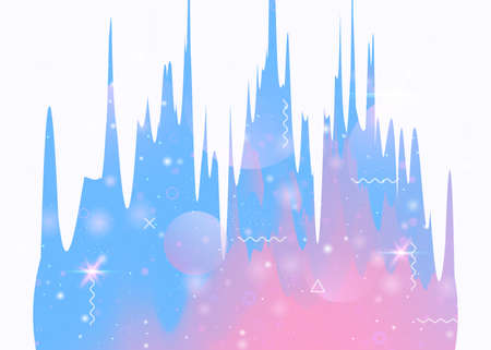 Abstract landscape with holographic cosmos and future universe background. Futuristic gradient and shape. Minimal mountain silhouette with wavy glitch. 3d fluid. Memphis abstract landscape.  イラスト・ベクター素材