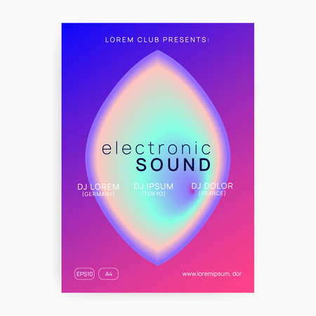 Summer music. Electronic sound. Night dance lifestyle holiday. Fluid holographic gradient shape and line. Dynamic house club presentation layout. Fest poster and flyer for summer music.
