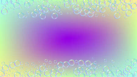 Suds bubble. Detergent bath foam and soap for bathtub. Shampoo. Multicolor fizz and splash. Realistic water frame and border. 3d vector illustration flyer. Rainbow colorful liquid suds.