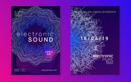 Trance party. Dynamic gradient shape and line. Curvy concert invitation set. Neon trance party flyer. Electro dance music. Electronic sound. Club dj poster. Techno fest event. Illusztráció