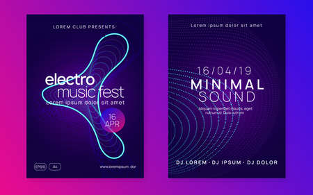 Music flyer. Digital discotheque invitation set. Dynamic fluid shape and line. Neon music flyer. Electro dance dj. Electronic sound fest. Techno trance party. Club event poster.