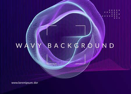 Trance party. Curvy discotheque banner design. Dynamic fluid shape and line. Neon trance party flyer. Electro dance music. Electronic sound. Club dj poster. Techno fest event. Illusztráció