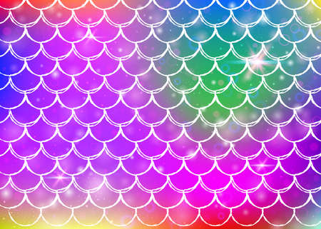 Rainbow scales background with kawaii mermaid princess pattern. Fish tail banner with magic sparkles and stars. Sea fantasy invitation for girlie party. Rainbow backdrop with rainbow scales.