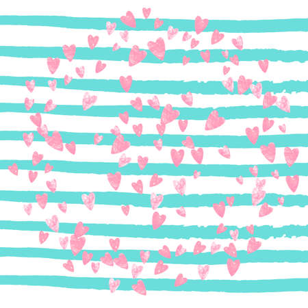Wedding glitter confetti with heart on turquoise stripe. Shiny falling sequins with shimmer and sparkles. Design with pink wedding glitter for party invitation, event banner, flyer, birthday card.