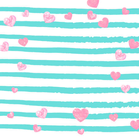 Wedding glitter confetti with heart on turquoise stripe. Shiny random falling sequins with shimmer. Design with pink wedding glitter for party invitation, event banner, flyer, birthday card. Illustration