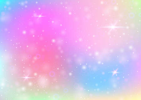 Unicorn background with rainbow mesh. Girlie universe banner in princess colors. Fantasy gradient backdrop with hologram. Holographic unicorn background with magic sparkles, stars and blurs. Vettoriali