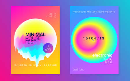 Music poster set. Wavy indie show cover layout. Fluid holographic gradient shape and line. Electronic sound. Night dance lifestyle holiday. Summer fest flyer and music poster.