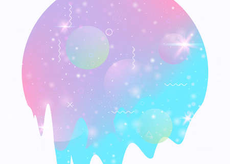 Cosmos background with abstract holographic landscape and future universe. Bright mountain silhouette with wavy glitch. 3d fluid. Futuristic gradient and shape. Memphis cosmos background.