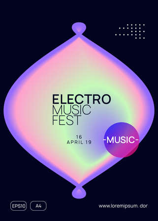 Music fest. Feminine trance party cover template. Electronic sound. Night dance lifestyle holiday. Fluid holographic gradient shape and line. Summer poster and music fest flyer. Vectores