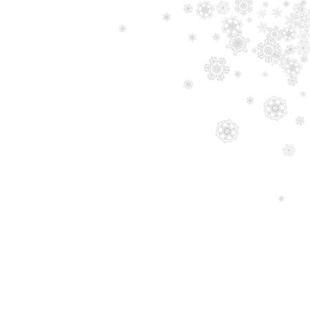 Snowflakes falling on white background. Merry Christmas and Happy New Year theme. Silver falling snowflakes for banners, gift cards, party invitations, partner compliments and special business offers.