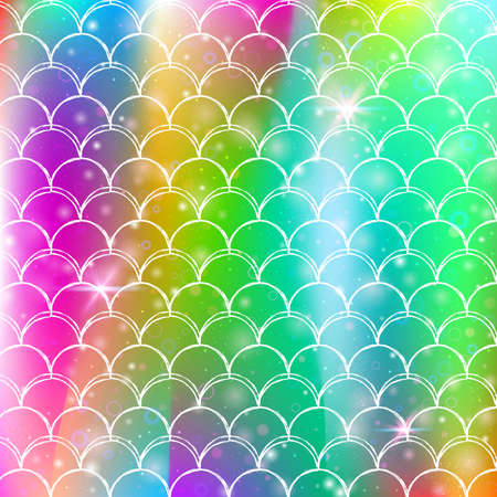 Princess mermaid background with kawaii rainbow scales pattern. Fish tail banner with magic sparkles and stars. Sea fantasy invitation for girlie party. Futuristic princess mermaid backdrop.