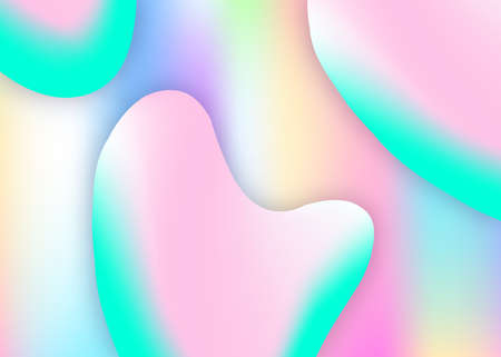 Fluid shape. Bright report, book composition. Vivid gradient mesh. Holographic 3d backdrop with modern trendy blend. Fluid shape background with liquid dynamic elements. Vectores