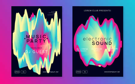 Summer music set. Fluid holographic gradient shape and line. Creative disco event presentation template. Electronic sound. Night dance lifestyle holiday. Fest poster and flyer for summer music.