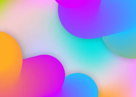 Liquid fluid. Holographic 3d backdrop with modern trendy blend. Neon card, flyer frame. Vivid gradient mesh. Liquid fluid background with dynamic elements and shapes.