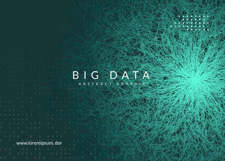 Big data concept. Digital technology abstract background. Artificial intelligence and deep learning. Tech visual for energy template. Fractal big data concept backdrop.