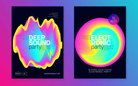 Music flyer set. Fluid holographic gradient shape and line. Electronic sound. Night dance lifestyle holiday. Bright electron show banner layout. Poster for summer fest and music flyer.