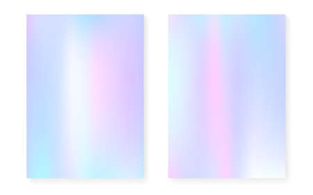 Pearle scent background with holographic gradient. Hologram cover set. 90s, 80s retro style. graphic template for book, annual, mobile interface, web app. Vibrant preadolescent background set. Vectores