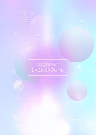 Fluid shapes background with liquid dynamic elements. Holographic Bauhaus gradient with Memphis. Graphic template for placard, presentation, banner, brochure. Hipster fluid shapes background.