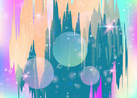 Cosmos background with abstract holographic landscape and future universe. Fluorescent mountain silhouette with wavy glitch. 3d fluid. Futuristic gradient and shape. Memphis cosmos background.