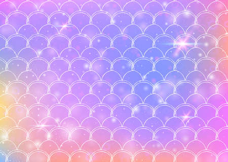 Kawaii mermaid background with princess rainbow scales pattern. Fish tail banner with magic sparkles and stars. Sea fantasy invitation for girlie party. Spectrum kawaii mermaid backdrop.