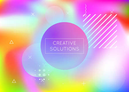 Holographic background with liquid shapes. Dynamic Bauhaus gradient with Memphis fluid elements. Graphic template for flyer, ui, magazine, poster, banner and app. Vibrant holographic background. Vectores