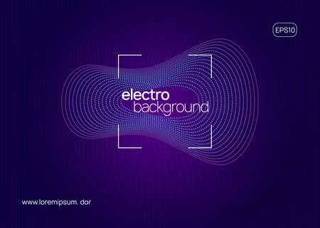 Electronic event. Dynamic fluid shape and line. Geometric show invitation template. Neon electronic event. Electron dance dj. Trance sound. Club fest poster. Techno music party flyer. Vectores
