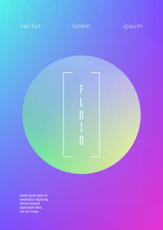 Holographic fluid with radial circles. Geometric shapes on gradient background. Modern hipster template for poster, covers, banners, flyer, report, brochure. Minimal holographic fluid in neon colors.