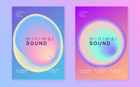 Summer music set. Electronic sound. Night dance lifestyle holiday. Fluid holographic gradient shape and line. Wavy house event cover design. Fest poster and flyer for summer music.