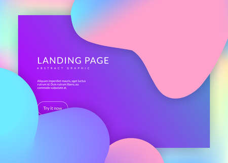 Liquid fluid. Holographic 3d backdrop with modern trendy blend. Vivid gradient mesh. Cosmic ui, mobile composition. Liquid fluid with dynamic elements and shapes. Landing page. Vectores