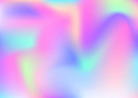 Hologram abstract background. Neon gradient mesh backdrop with hologram. 90s, 80s retro style. Pearle scent graphic template for placard, presentation, banner, brochure.
