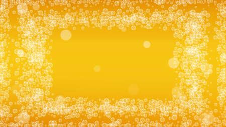 Oktoberfest background. Beer foam. Craft lager splash. restaurant menu layout. Bavarian pint of ale with realistic white bubbles. Cool liquid drink for Orange jug with Oktoberfest. Vectores