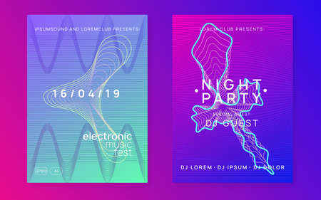 Dynamic fluid shape and line. Minimal concert banner set. Electron trance music. Techno dj party. Electronic sound event. Club dance poster.