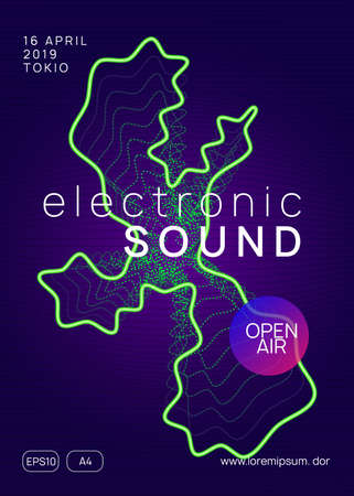 Music poster. Energy discotheque brochure concept. Dynamic gradient shape and line. Neon music poster. Electron dance dj. Electronic sound fest. Club event flyer. Techno trance party.